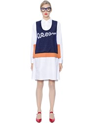 Tsumori Chisato Cotton Satin Dress With Sweater Vest