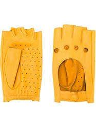 Zanellato Perforated Fingerless Gloves Yellow And Orange