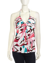 T Bags T Bags Halter Graphic Print Stretch Blouse White Black Multi