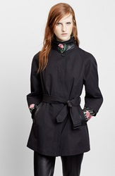 Christopher Kane Embroidered Leather Trim Trench Coat Black