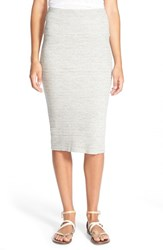 James Perse Women's Rib Body Con Midi Skirt Heather Grey