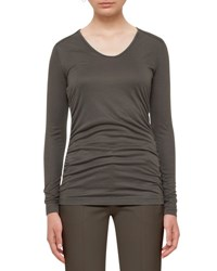 Akris Punto Long Sleeve Lightweight Jersey Top Olive