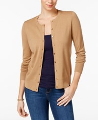 Charter Club Crew Neck Cardigan Only At Macy's Distressed Tan