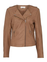Maison De Nimes Wave Collarless Faux Leather Jacket Tan