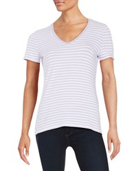 Lord And Taylor Plus Striped Stretch Cotton Tee African Violet
