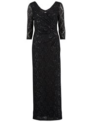 Gina Bacconi Long Sequin Wrap Lace Dress Black