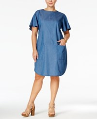Stoosh Plus Size Chambray Flutter Sleeve Shift Dress