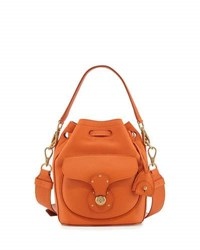 Ralph Lauren Leather Bucket Bag Orange