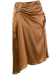 Versace Embellished Draped Mid Length Skirt Brown