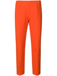 Piazza Sempione Cropped Slim Fit Trousers Yellow And Orange