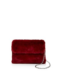 Street Level Faux Fur Clutch Red Silver