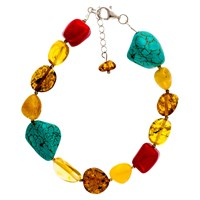 Be Jewelled Sterling Silver Amber Bracelet Multi