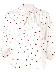 Chinti And Parker Printed Pussy Bow Blouse White