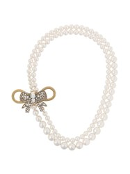 Miu Miu Pearl Embellished Bow Necklace White