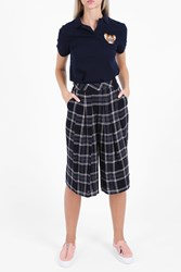 Paul And Joe Sister Pleated Front Check Trousers Navy