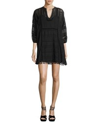 Joie Gelina Lace 3 4 Sleeve Dress Black