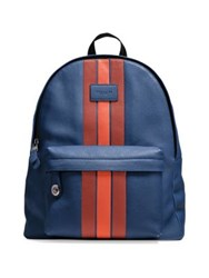 Coach Varsity Striped Leather Backpack Blue