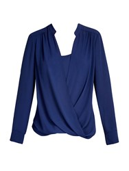 Wallis Navy Wrap Layer Blouse