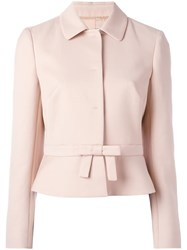 Red Valentino Bow Detail Cropped Jacket Pink Purple