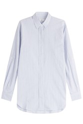 Closed Cotton Blouse With Stripes