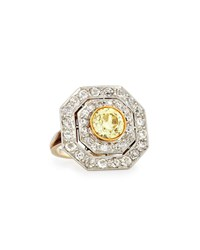 Nm Estate Jewelry Collection Estate Edwardian Octagonal Yellow Diamond Cluster Ring