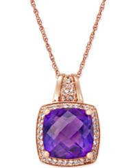 Macy's Amethyst 7 Ct. T.W. And White Topaz 1 4 Ct. T.W. Pendant Necklace In 14K Rose Gold Plated Sterling Silver