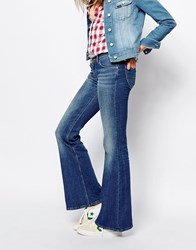 Lee Annetta Mid Rise Wide Flare Jean Blue