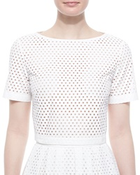 Lela Rose Mesh Short Sleeve Crop Top White