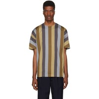 Issey Miyake Beige And Blue Dyeing Stripe T Shirt