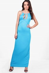 Boohoo Caged Cut Away Maxi Dress Turquoise