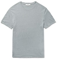 Sandro Slub Linen T Shirt Light Gray