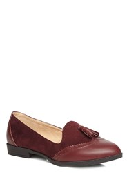Evans Extra Wide Berry Material Mix Loafer Red