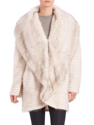 The Fur Salon Mink Fur Shawl Jacket Grey White