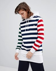 Huf Kennedy Hoodie With Contrast Stripes White