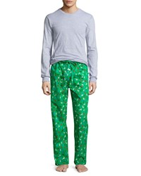 Neiman Marcus Boxed Holiday Print Pajama Set Green