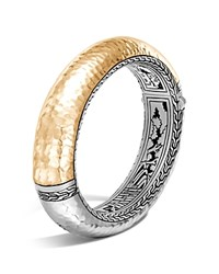 John Hardy Sterling Silver And 18K Bonded Gold Classic Chain Hammered Oval Hinged Bangle Gold Silver
