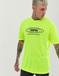 Good For Nothing Oversized T Shirt In Neon Yellow With Globe Logo