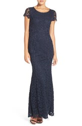 Lulus Women's Lulu's Open Back Cap Sleeve Lace Mermaid Gown Navy