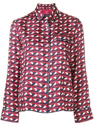 F.R.S For Restless Sleepers Geometric Pattern Printed Shirt Blue