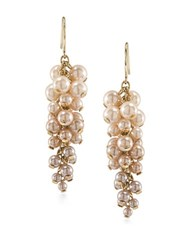 Carolee Pink Champagne Faux Pearl Cluster Linear Earrings