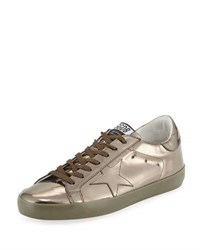 Golden Goose Superstar Men's Metallic Leather Low Top Sneaker Gunmetal Silver