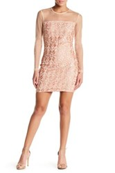 Endless Rose Long Sleeve Embroidered Floral Mesh Dress Pink