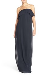 Women's Nouvelle Amsale 'Holly' Strapless Ruffle Front Chiffon Trapeze Gown
