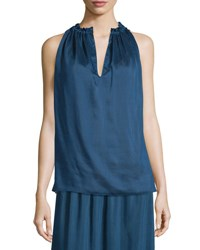 The Row Ruffled Split Neck Sleeveless Top Dark Sapphire