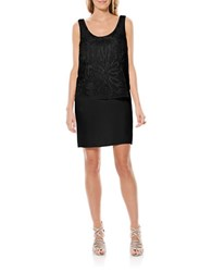 Laundry By Shelli Segal Embellished Pop Over Chiffon Dress Black