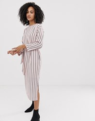 Selected Femme Stripe Tie Waist Midi Dress Pink