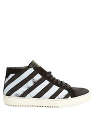Off White Striped Leather High Top Trainers Black Multi