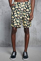 Forever 21 Banana Print Shorts Black Yellow