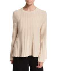 Elizabeth And James Baker Ribbed Crewneck Pullover Sweater Tan