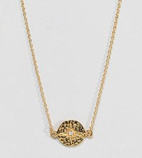 Asos Design Gold Plated Sterling Silver Necklace With Engraved Star
